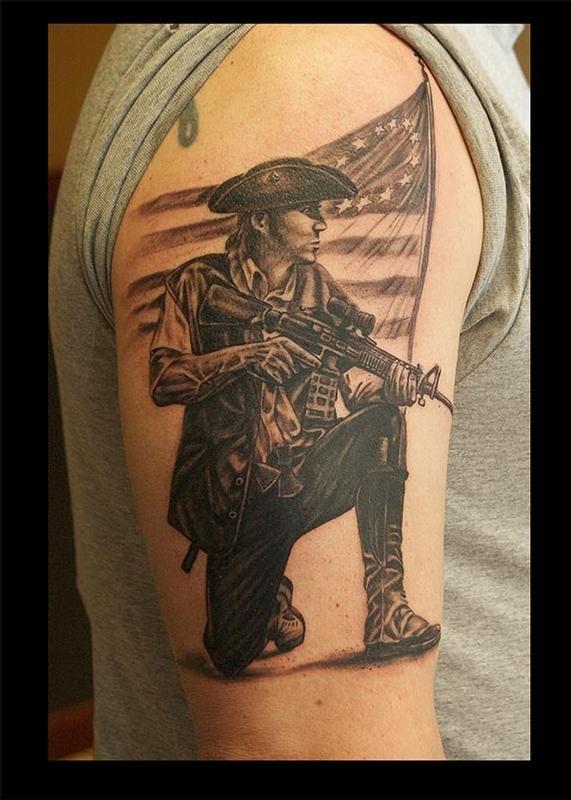 15d32fc37 Minuteman AR15 Patriotic Tattoos, Flag Tattoos, New Tattoos, Badass Tattoos,  Awesome Tattoos