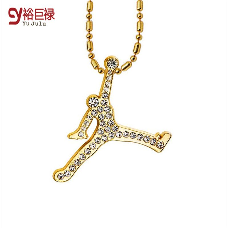 Air jordan necklace hip hop jewelry hiphop long necklaces air jordan necklace hip hop jewelry hiphop long necklaces rhinestone pendant gold chain for men hipster mozeypictures Image collections