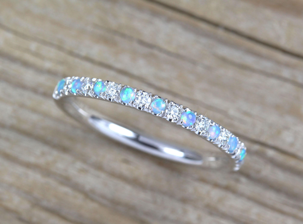 Opal And Diamond Eternity Band Opal Ring Eternity 2 Mm Etsy Opal Wedding Rings Opal Wedding Band Opal Stacking Ring