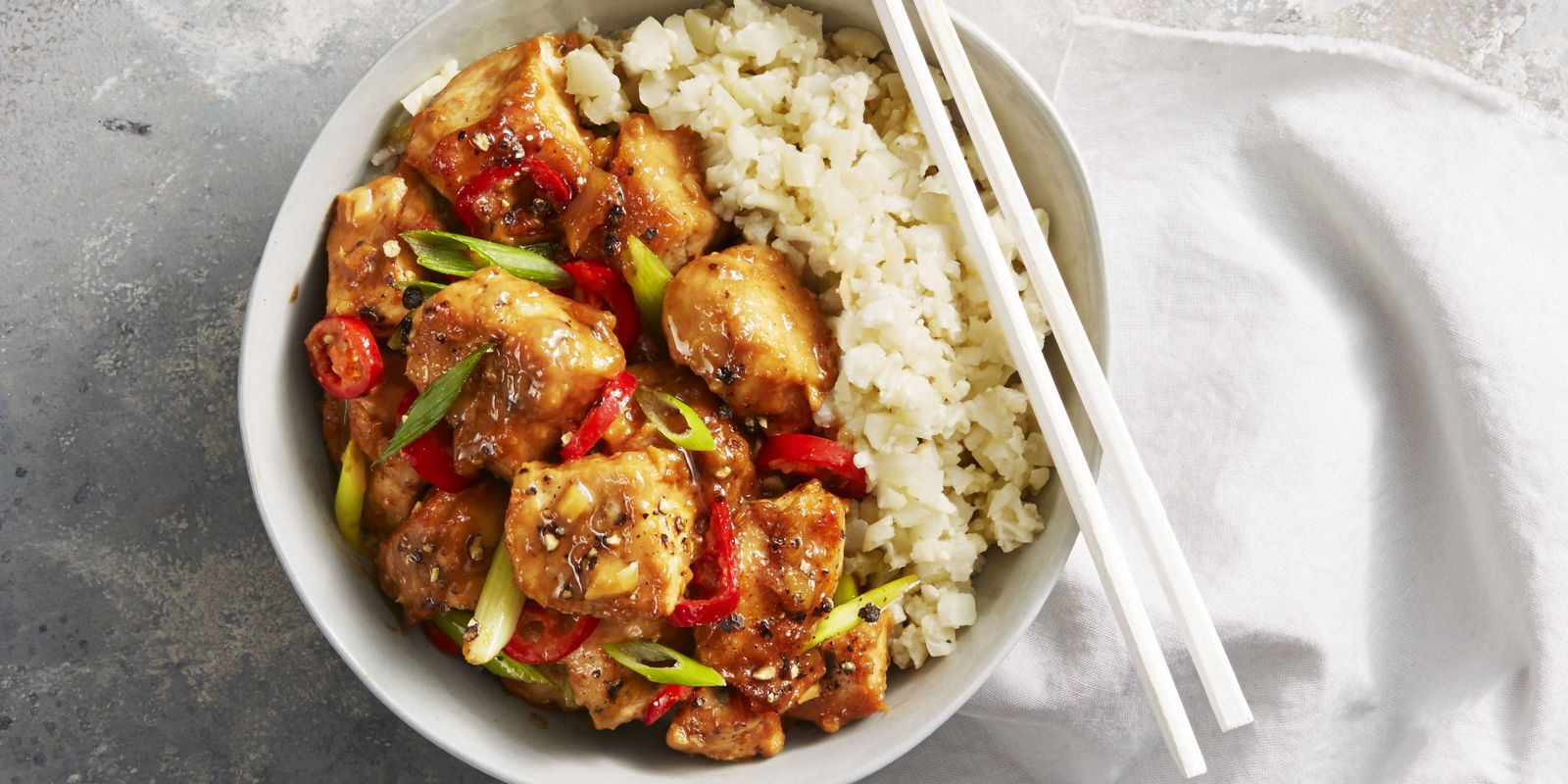 Spicy chicken miso stir fry recipe cauliflower low carb recipes cauliflower florets pulsed in a food processor stand in for rice in this delicious low forumfinder Gallery
