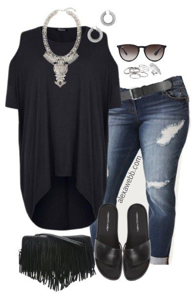 Plus Size Black Hi Lo Tee Outfit For Women Spring And