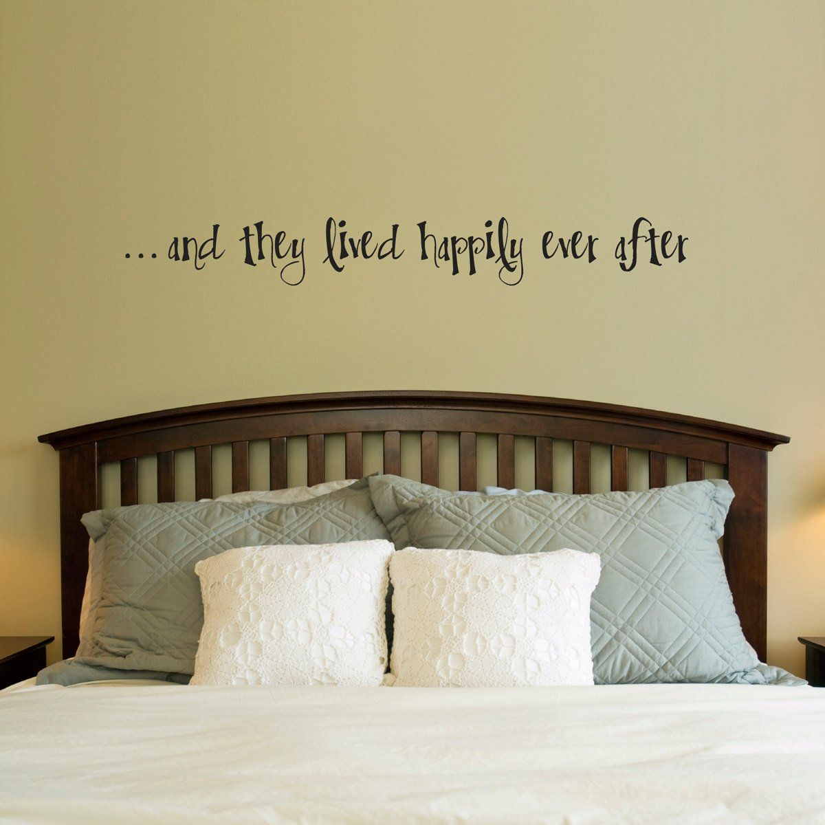 Happily ever after wall decal couple bedroom decor decal quote