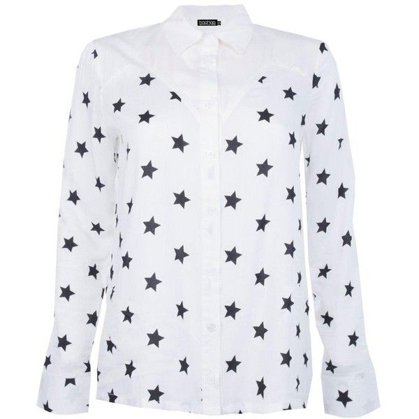 Boohoo Erin Star Print Western Shirt | Boohoo (210 MAD) ❤ liked on Polyvore featuring tops, viscose top, western style shirts, western shirts, flat top and star print top