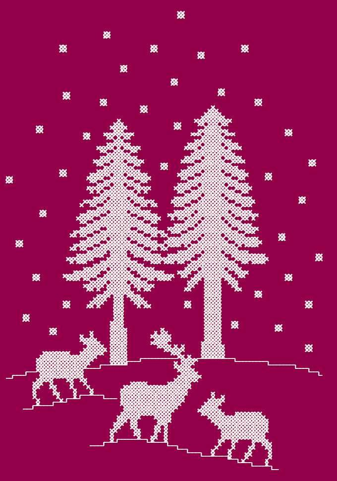 Deer In Winter Forest Cross Stitch Free Embroidery Design Cross