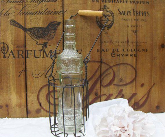 Wire Bottle Carrier Black Metal Single Vintage Wine Holder Wood