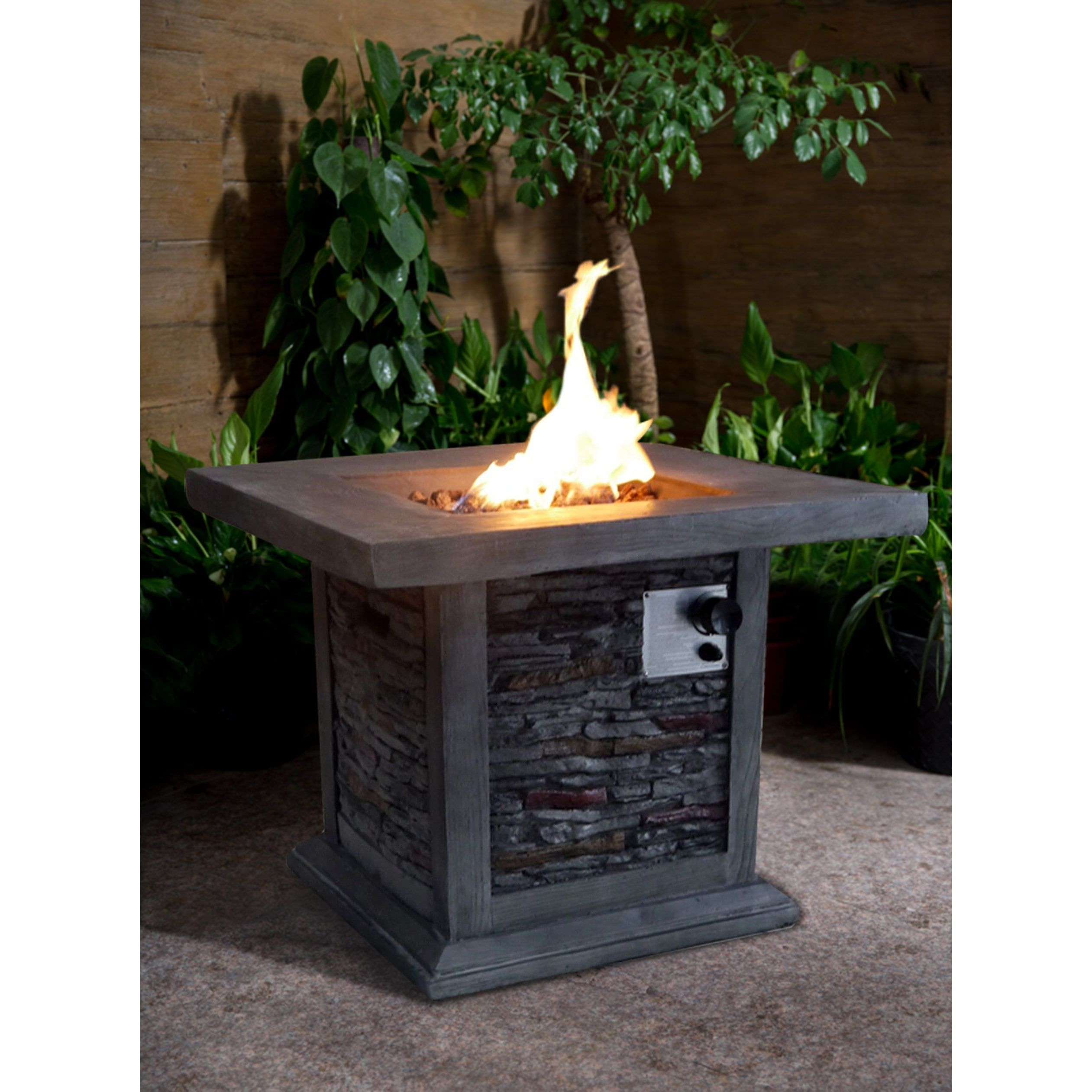 crawford and burke guanacaste square gas outdoor fire pit gray
