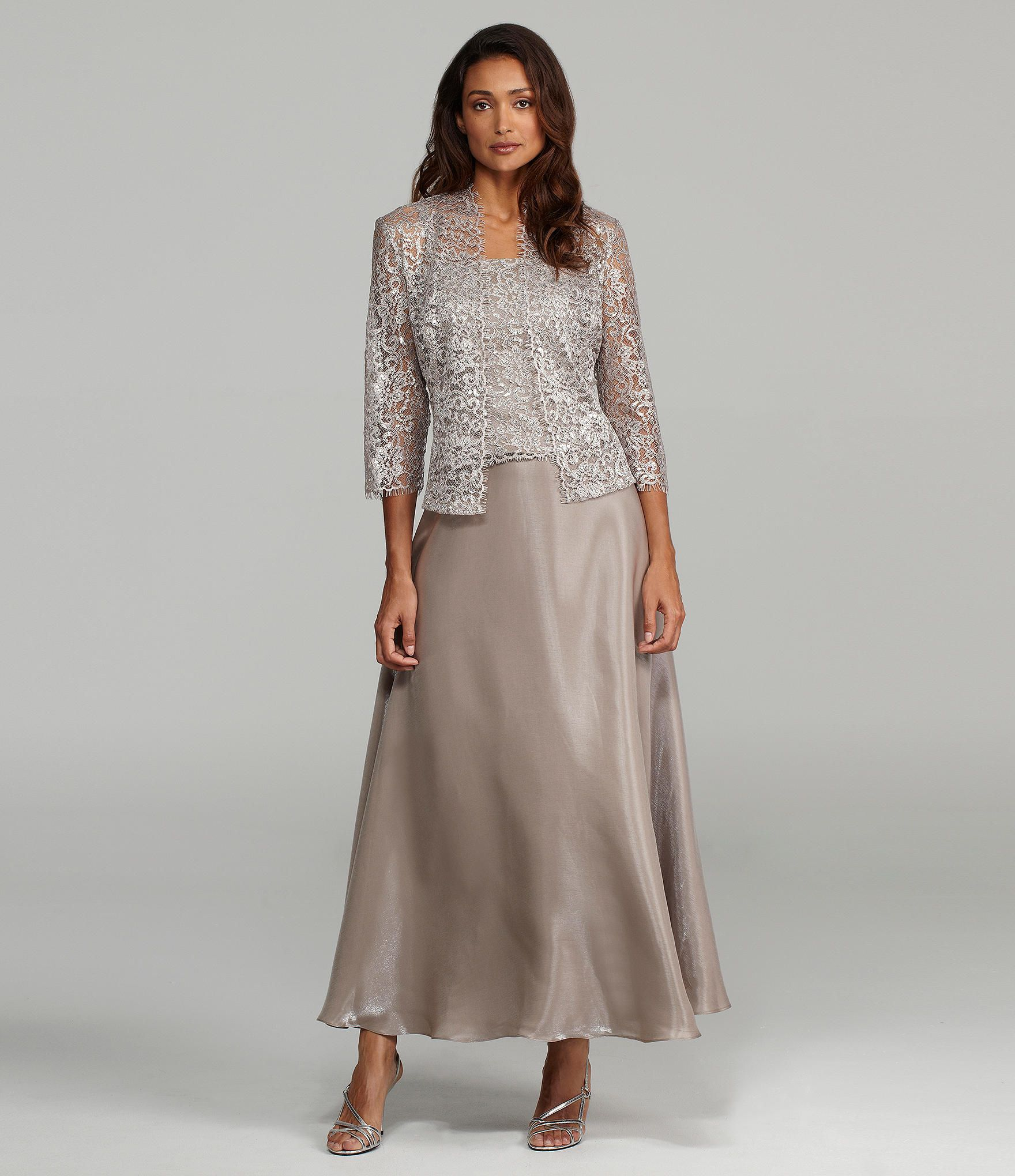 KM Collections Woman Lace Jacket Dress | Dillards | Mother of groom ...