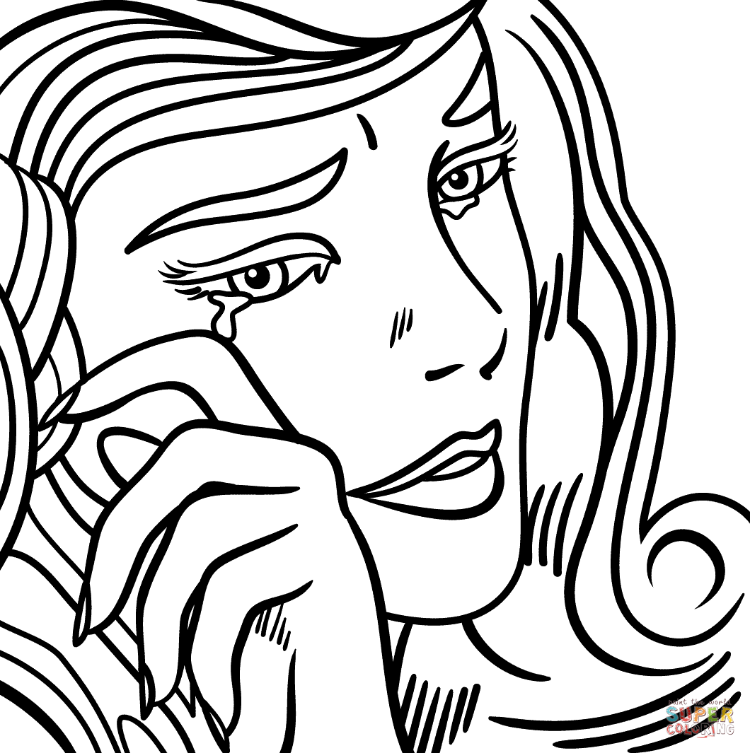crying girl by roy lichtenstein super coloring color retro pinterest crying girl roy