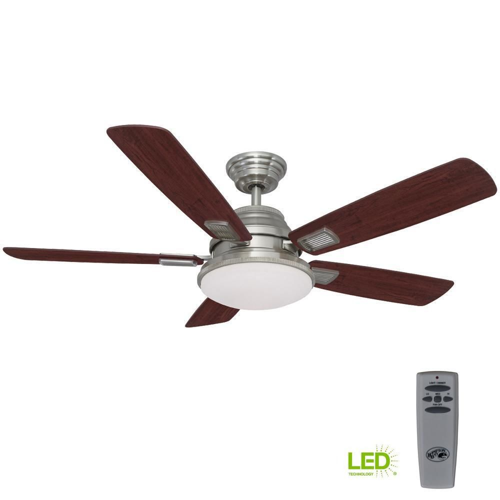 03e4b5abdb0 LED Indoor Brushed Nickel Ceiling Fan with Light Kit and Remote  Control-51315 - The Home Depot