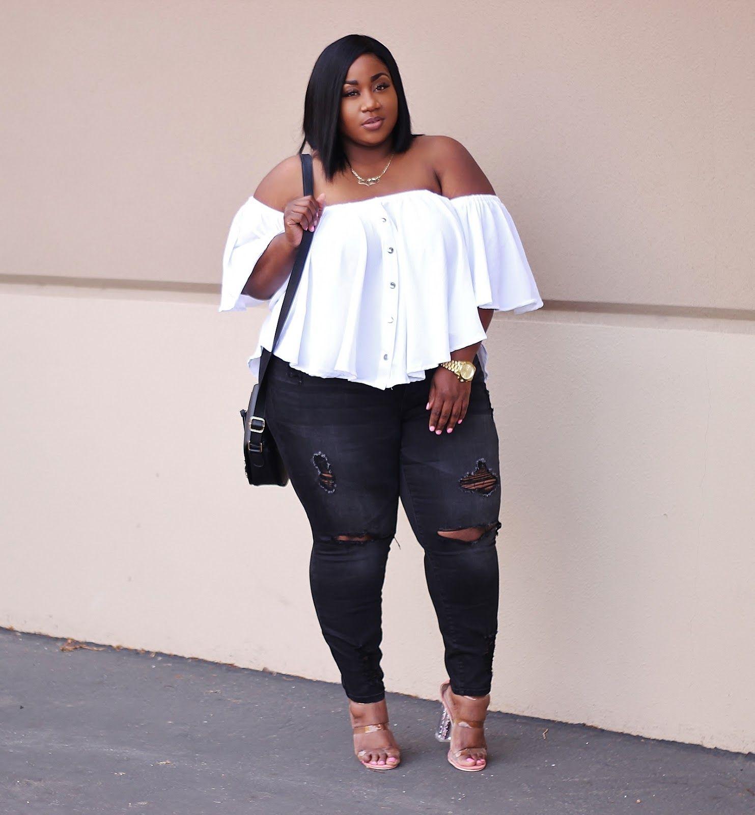 Top | Jeans | Heels | Plus size fashion