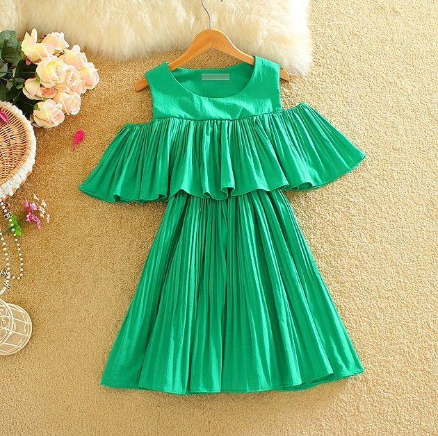 Chiffon Pleated Mini Dress