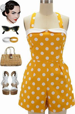 cab10d8d97 50s Style YELLOW   White POLKA DOT Fold Over Bust Poolside PINUP Playsuit  Romper
