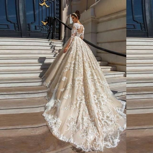 6b2311006479 Gorgeous Lace Ball Gown Wedding Dresses 2019 Sexy Illusion Appliques Nude tulle  Long Sleeve Bridal dress Gowns Vestido De Noiva