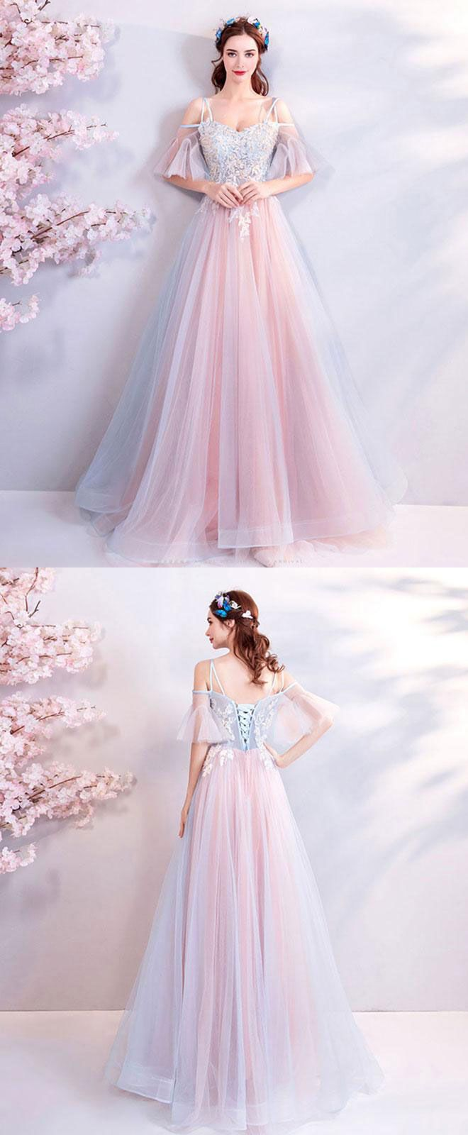 Pink sweetheart tulle lace applique long prom dress pink evening