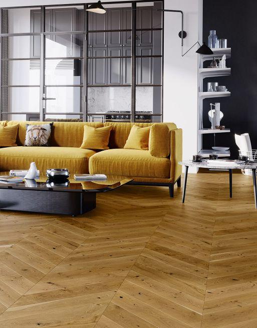 Chelsea Chevron Golden Oak Brushed & Lacquered