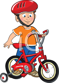 Royalty Free Clipart Image Of A Boy Wearing A Helmet Preparing To