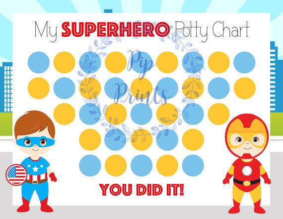 Printable Superhero Potty Training Chart Instant Download