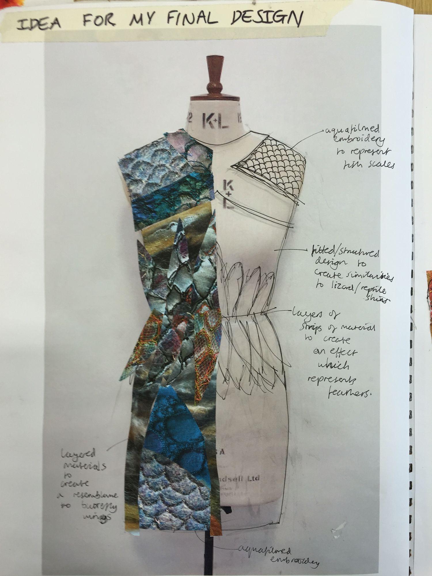 Developing A Final Design Idea Emma Fashion Design Sketchbook Fashion Design Portfolio Textiles Sketchbook