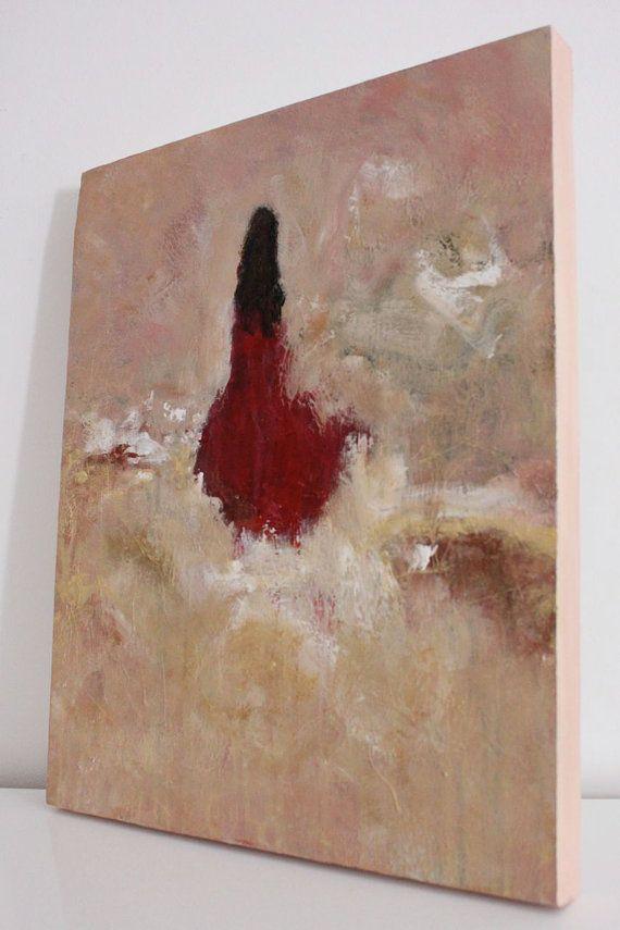 Canvas Abstract Figurative Painting Original Textured Woman 16 X 20   Village  Expo Portet Sur Garonn