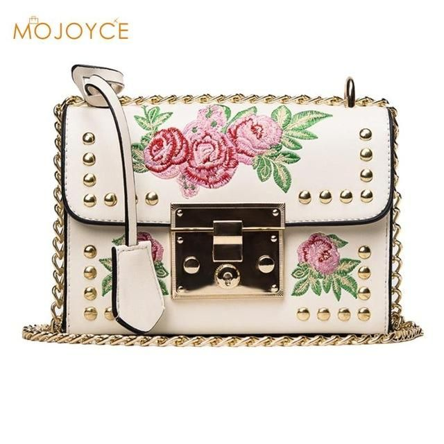 Women Embroidery Flower Flap Bags Fashion Flap Rivet PU Leather Messenger  Bag 2018 Feminina Ladies Small Crossbody Shoulder Bags cb8193201066c