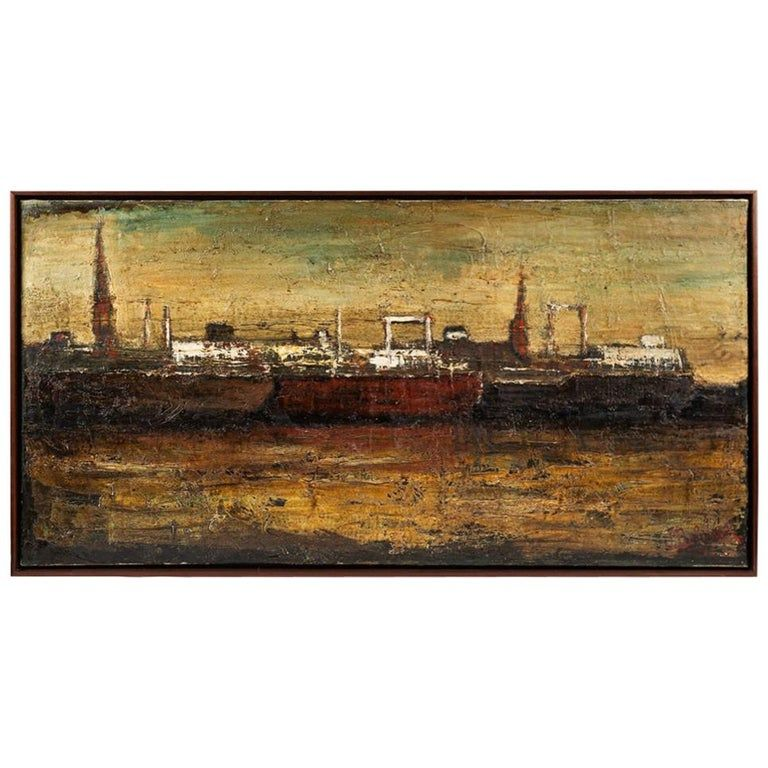 An oil painting on canvas depicting the port of Antwerp in frame.
