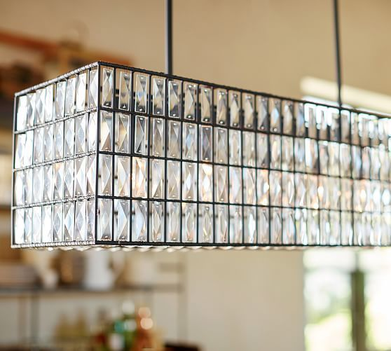 Adeline crystal rectangular chandelier pottery barn kitchen adeline crystal rectangular chandelier pottery barn mozeypictures Images
