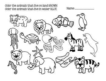 animal living on land worksheets for grade 1 and2 evs water animals. Black Bedroom Furniture Sets. Home Design Ideas
