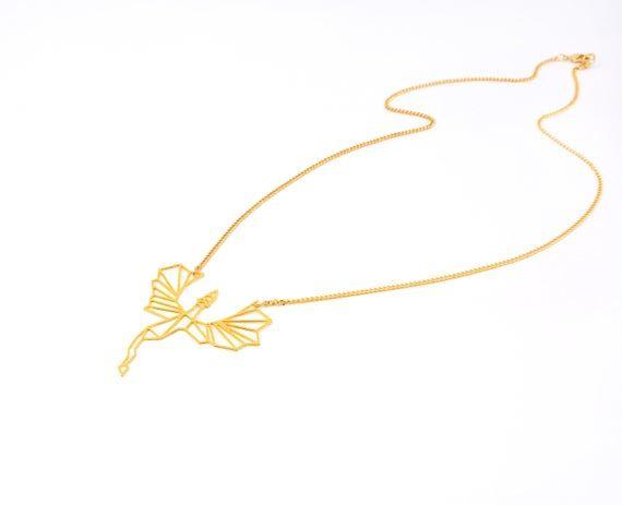 Photo of Drachenhalskette, geometrischer Golddrache, Origami-Drache, Game of Thrones-Schmuck, Fliegende Drachenhalskette, Drachenanhänger, Zahnlose Halskette