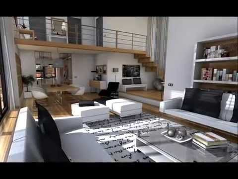 Dise o interior loft minimalista youtube salas for Diseno interior minimalista