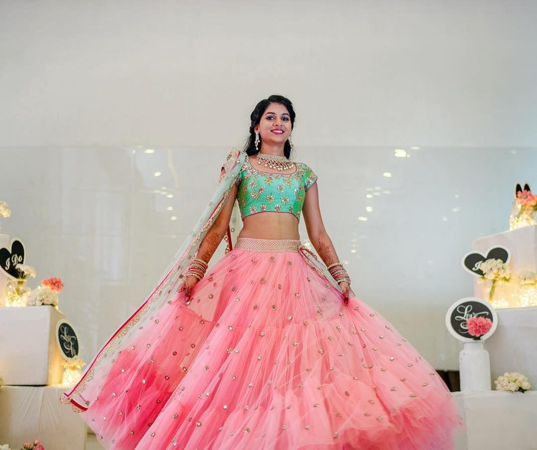 Beautiful bride in Mrunalini Rao. Beautiful blush pink color lehenga ...