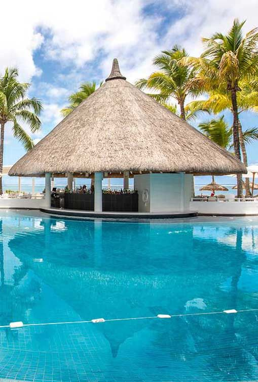 Pool bar at Belle Marre Plage Hotel. Mauritius