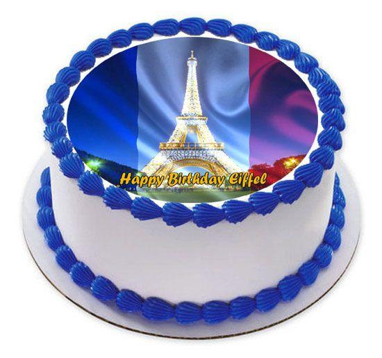Eiffel Tower Edible Birthday Cake Topper Edible Cake Image