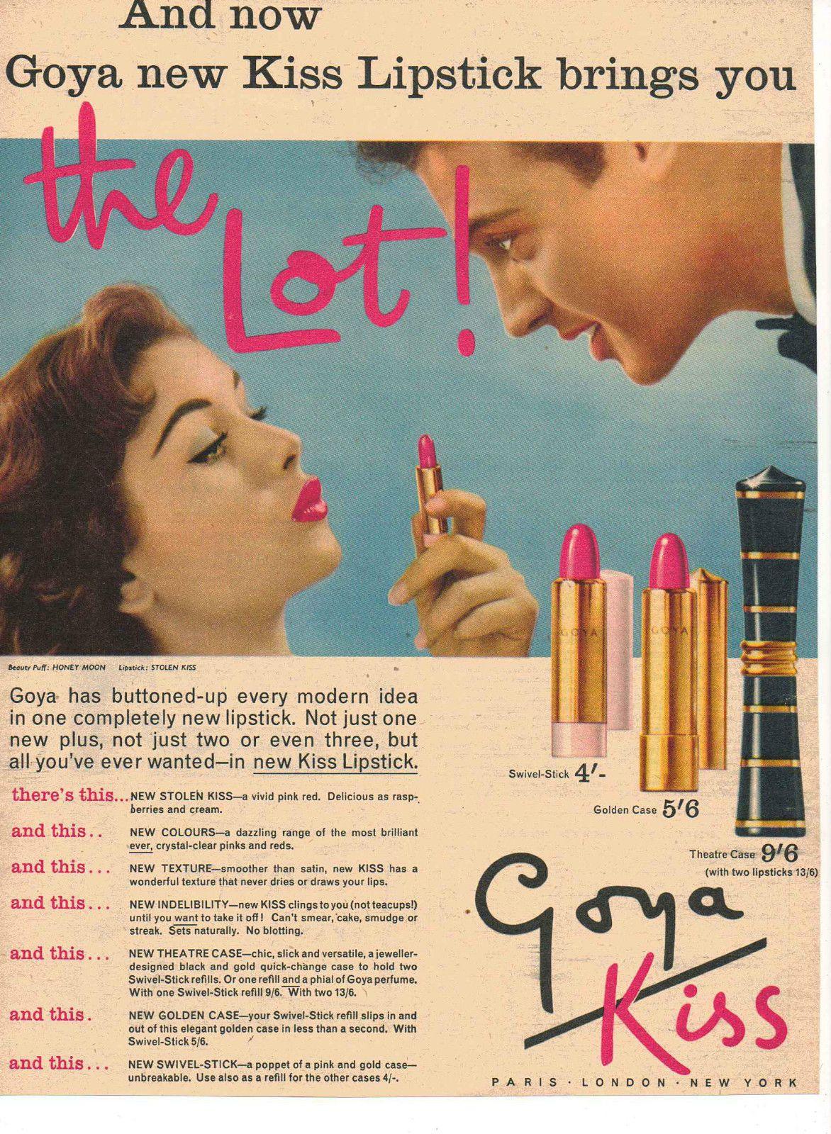 Goya 'Kiss' Lipstick Ad Lipstick ad, Vintage cosmetics
