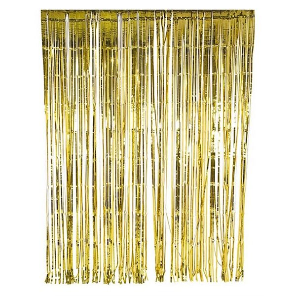 Glitterati Gold Fringe Party Curtain Foil Curtain Gold Backdrop