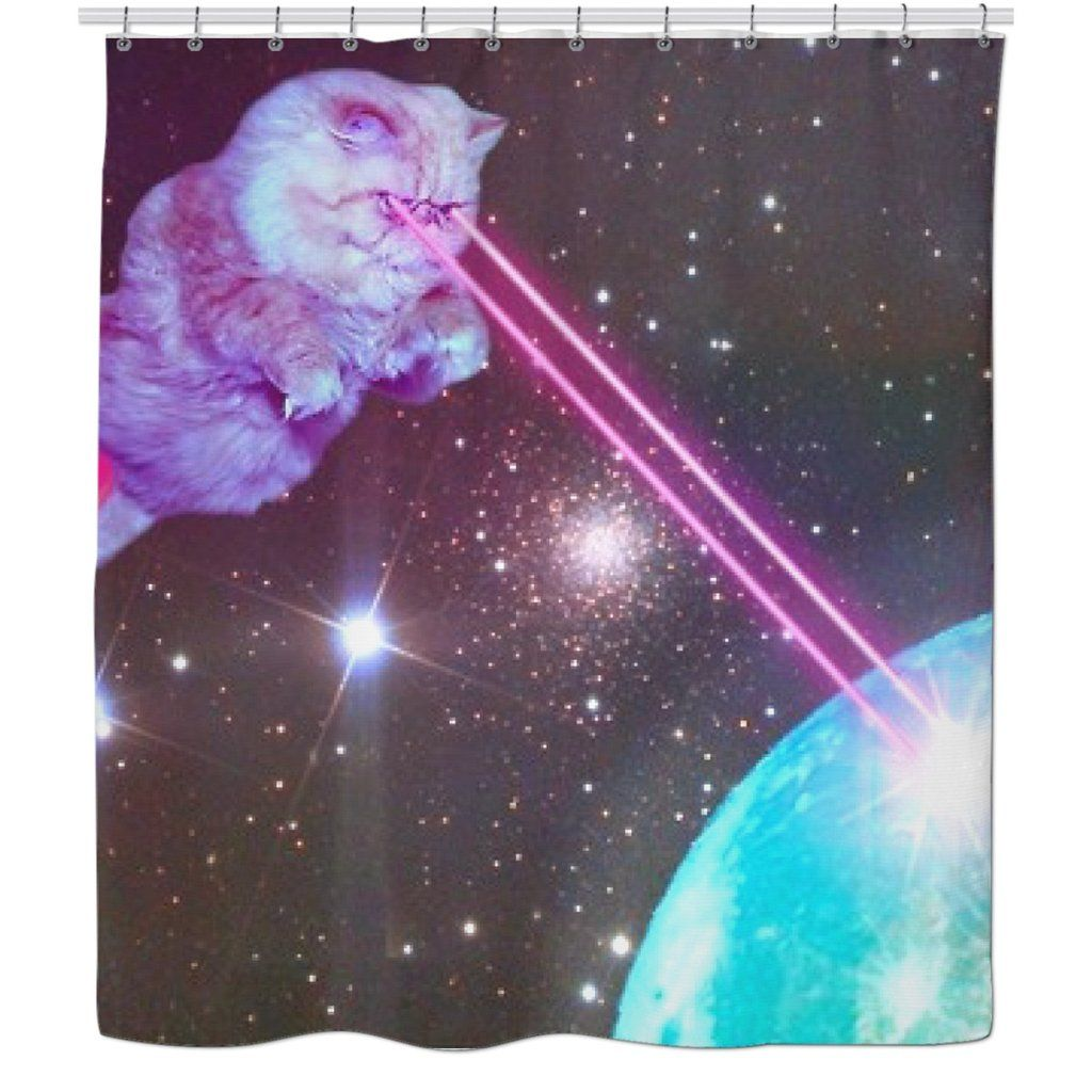 Cats in space shower curtain