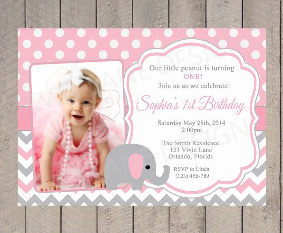 Girl First Birthday Invitation Elephant Girl Birthday Pink and – Pink 1st Birthday Invitations