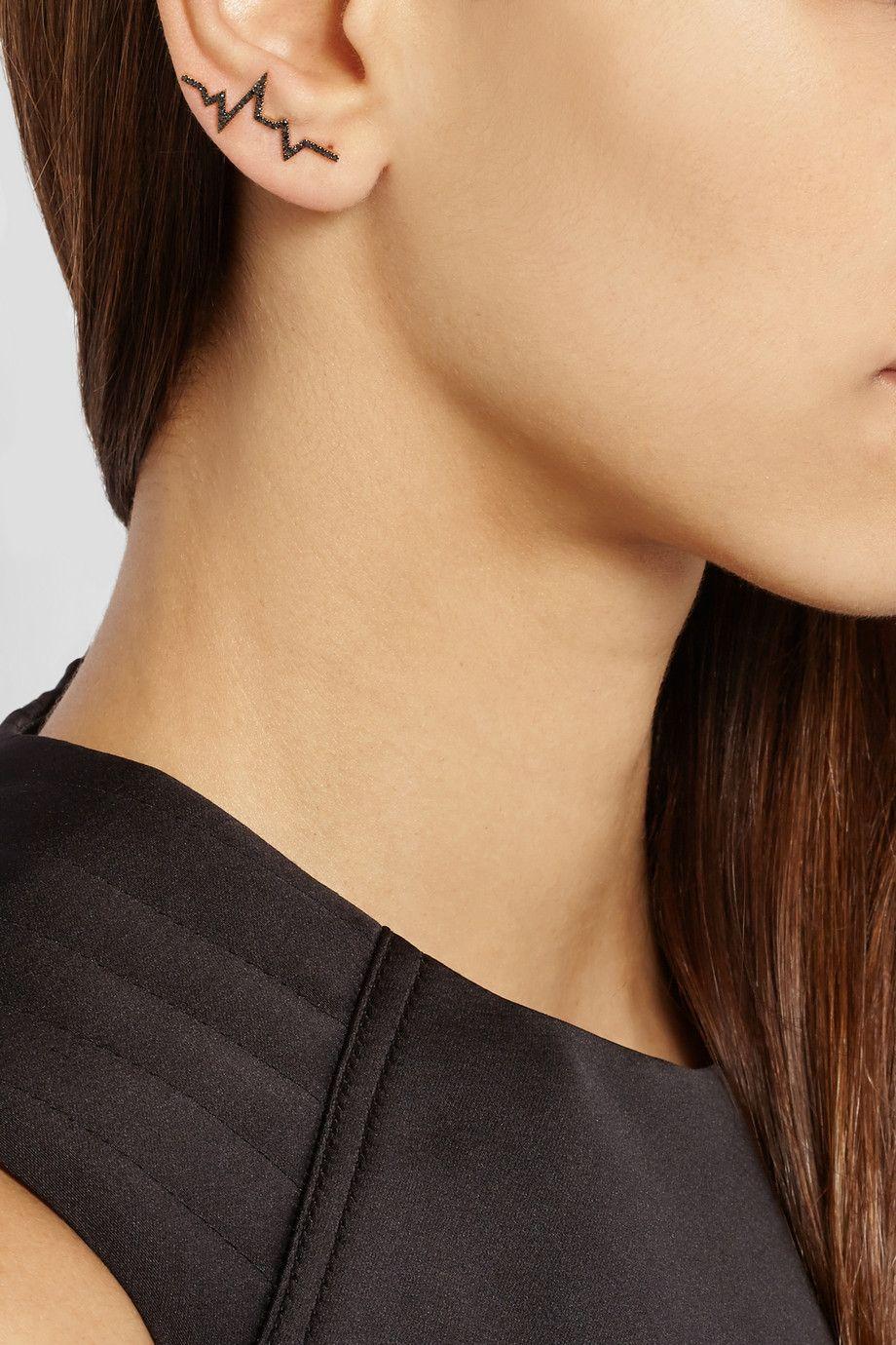 Diane Kordas|Heartbeat 18-karat rose gold diamond ear cuff|NET-A-PORTER.COM