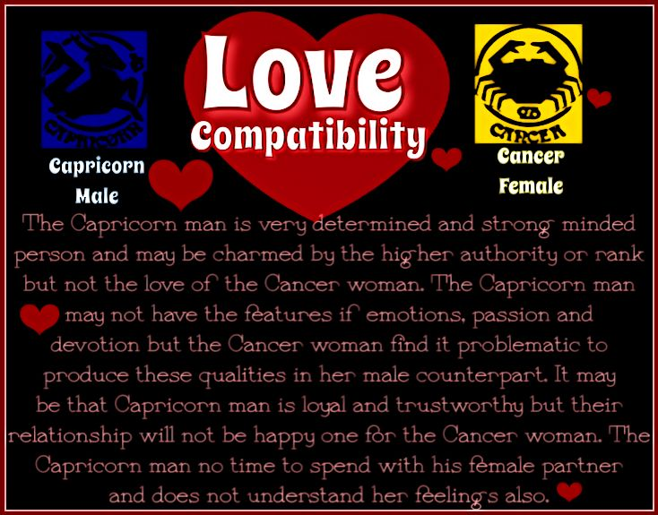 Capricorn male with cancer female