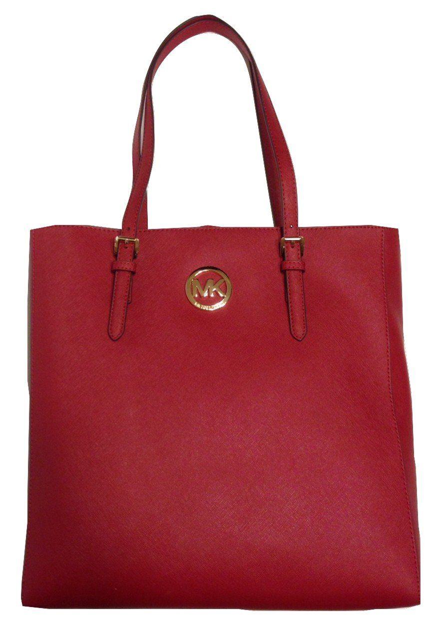 4a78505ffd Woman Fashion. Shoulder Bags. Destinations. Traveling. Michael Kors Jet Set  Travel Large NS Tote Saffiano Scarlet Leather  Handbags  Amazon.
