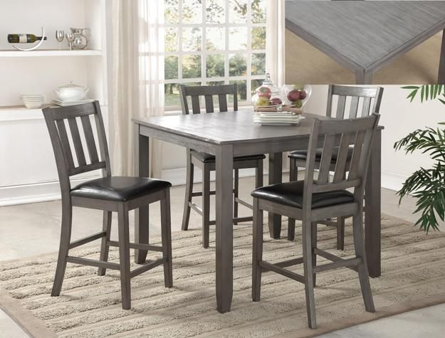 Michael Driftwood Grey 5 Piece Counter Height Table And 4 Chairs C M 2761 Gy Kitchen Table Settings Counter Height Dining Table Set Furniture