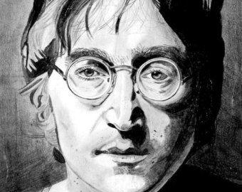 John Lennon Steel and Glass Art Print