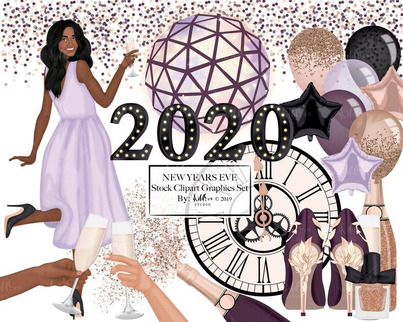 New Years Eve Clipart Set, Balloons, Champagne, fashion
