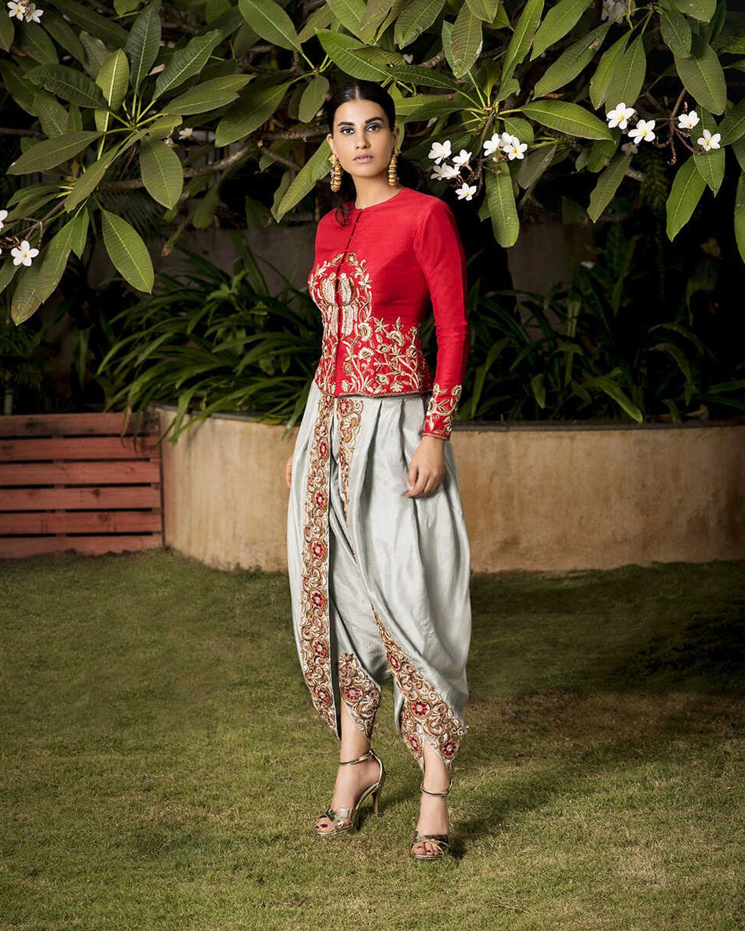 f6244039ad3 Anjali Jani. Red Silk Jacket With Dhoti Pants