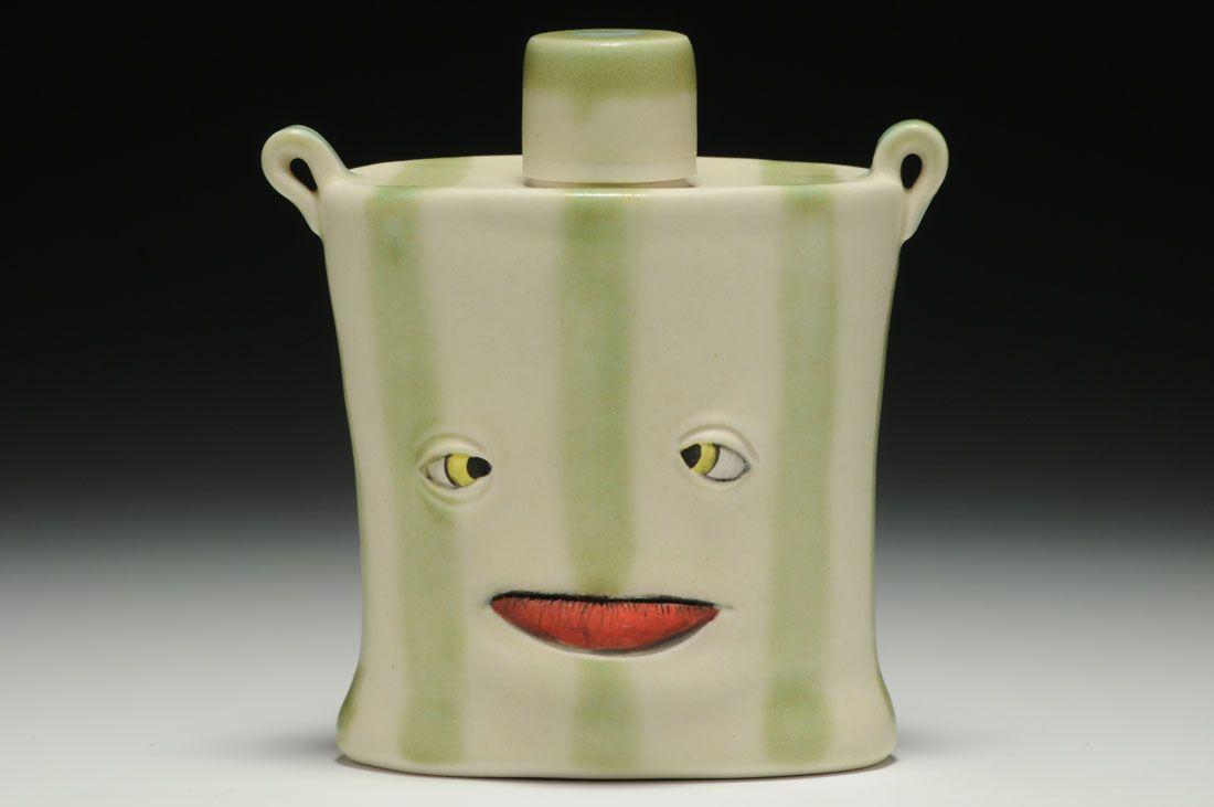 Beau Raymond; Epicflask Frost porcelain, wheel thrown, glaze and underglaze, cone 6,