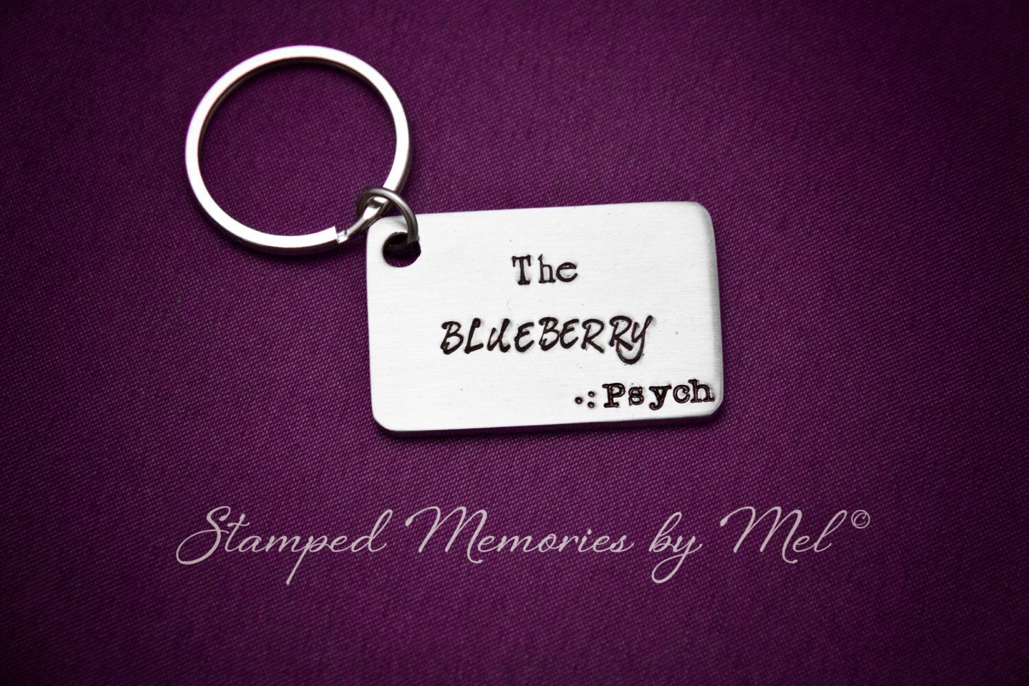 The Blueberry - Hand Stamped Psych Keychain - Gus and Shawn Little Blue Car - Custom Handmade Stainless Steel Fan Key Chain - Geekery by StampedMemoriesbyMel on Etsy https://www.etsy.com/listing/165672700/the-blueberry-hand-stamped-psych