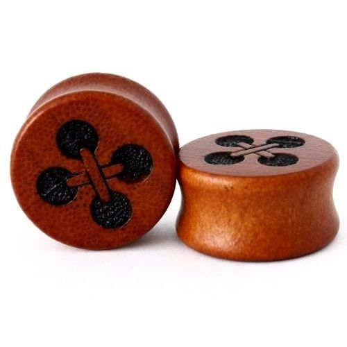 Pair Hand Carved Bamboo Wood Ear Gauges Plugs Flesh Tunnels Skull,Anchor,Octopus