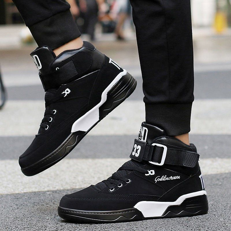 9e66aac74 Men High Top Sneakers Cool Hip Hop Shoes Outdoor Sports Shoes Basketball  Boots - BLACK 8.5