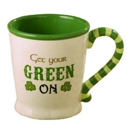 Amazon.com: So Lucky Irish Style Peek A Boo 16 oz Ceramic Mug - Eat Drink and Be Irish: Kitchen & Dining