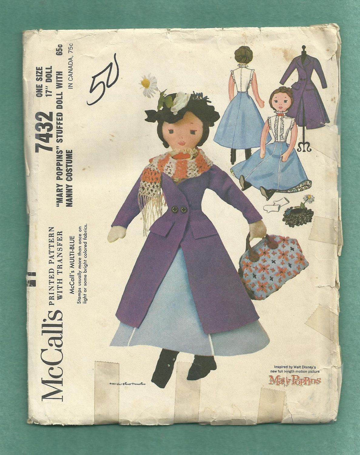 Vintage 1964 McCalls 7432 Mary Poppins Doll with Coat Hat Carpetbag ...
