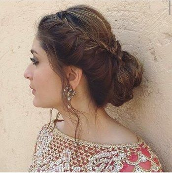 Hairstyle Thats So Cool Side French Braid With A Bun Indianblogger Beautyblogger Hairst Engagement Hairstyles Indian Hairstyles Indian Bridal Hairstyles